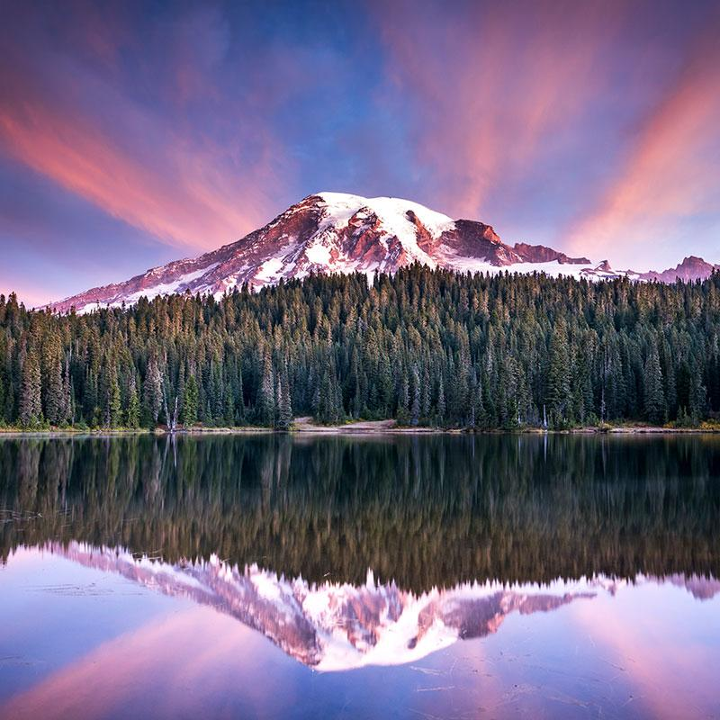 Mountain lake with forest and cotton candy sky by Justin Katz