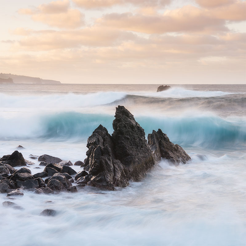 Rocky Ocean with soft sky landscape by Scott Reither