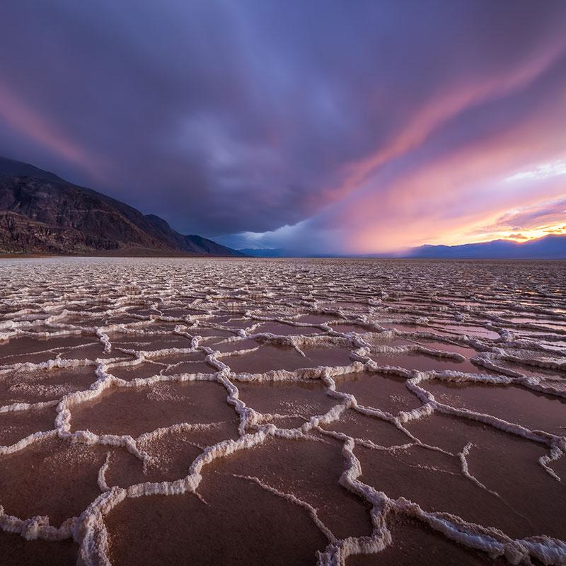 Salt Flat with colorful cloudly sky by Michael Wilson