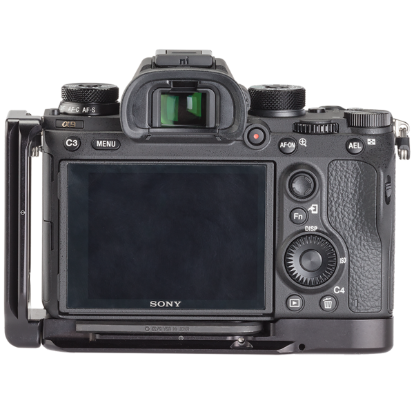 Alpha a9 plate with L-component attached to camera back view