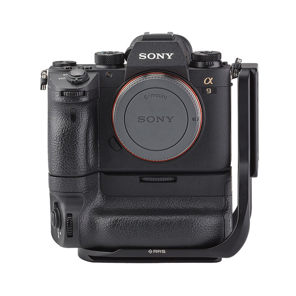 Alpha a9 plate with L-component and battery grip attached to camera front view