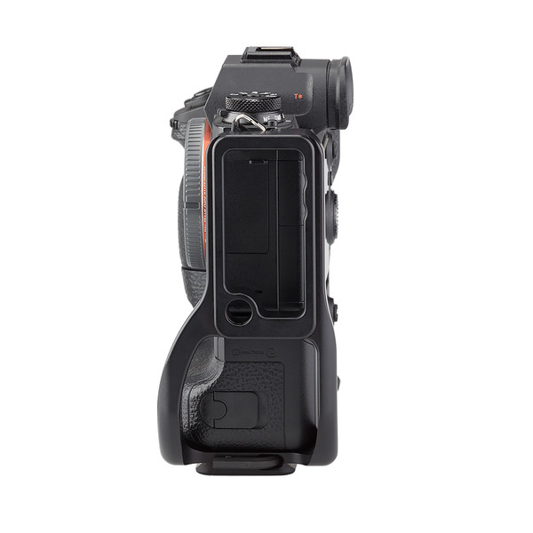 Alpha a9 plate with L-component and battery grip attached to camera side view