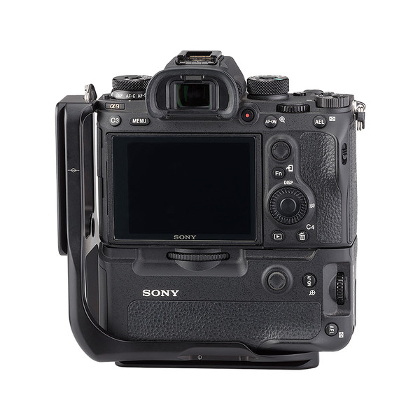 Alpha a9 plate with L-component and battery grip attached to camera back view