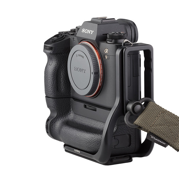 Alpha a9 plate with L-component and battery grip attached to camera with QD strap