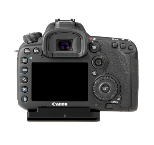 Plate for Canon 7D Mark II seen on camera back view