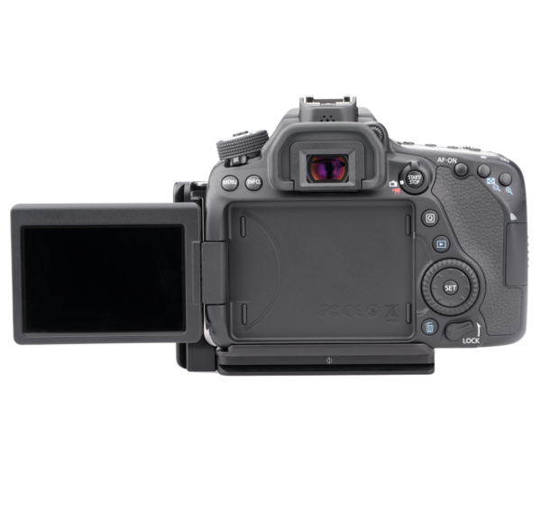 Base plate for Canon 80D with L-Component seen on camera back view with screen open