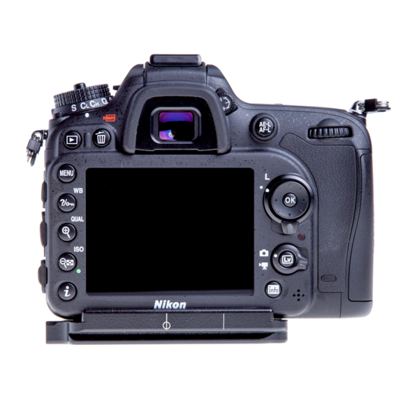 Plate for Nikon D7100 and D7200 seen on camera back view