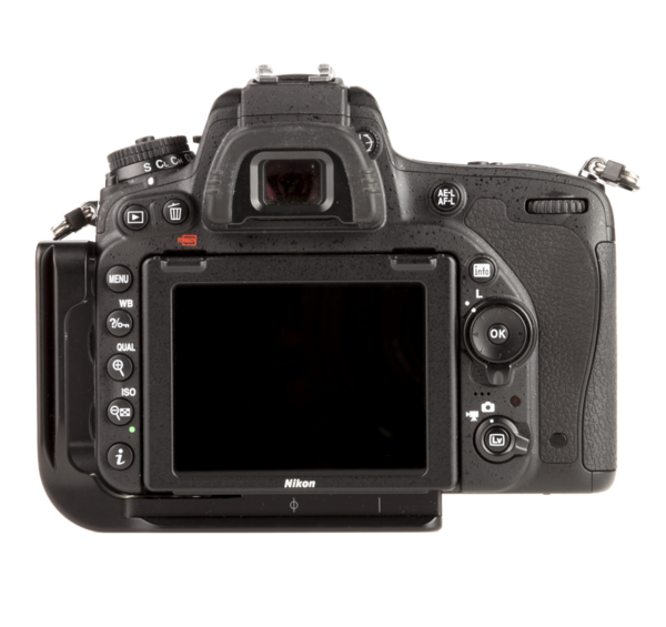 L-plate for Nikon D750 seen on camera back view