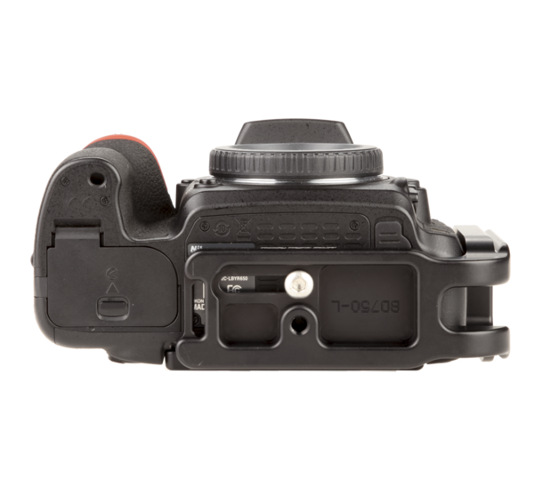 L-plate for Nikon D750 seen on camera bottom view