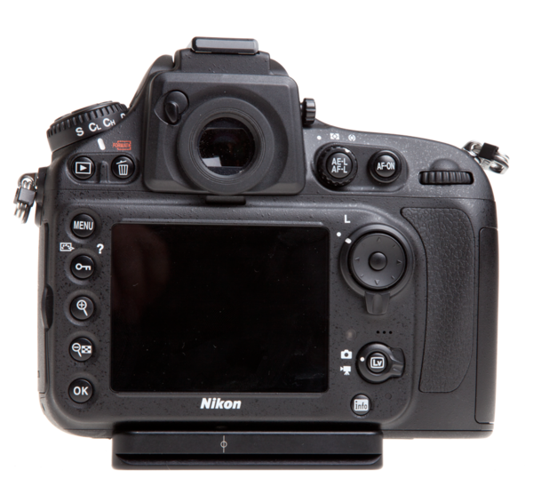 Plate for Nikon D800/D800E seen on camera back view