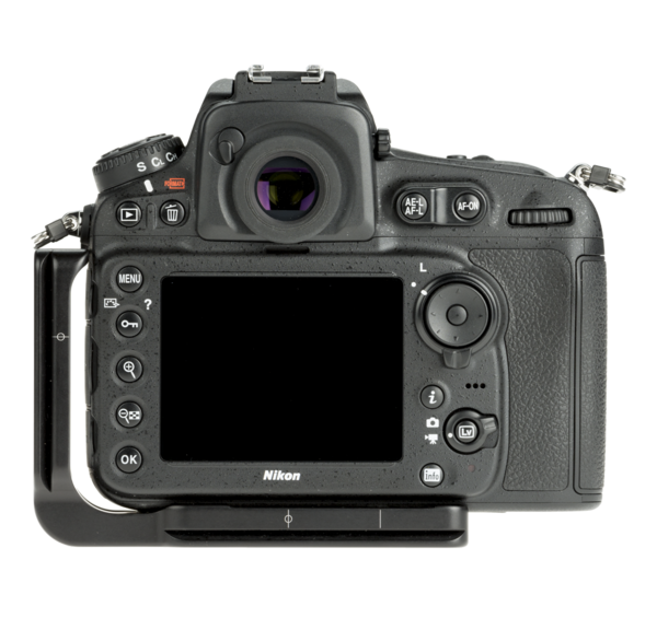 L-Plate for Nikon D810 seen on camera back view