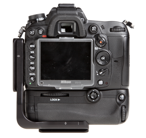 L-plate for MB-D11 grip seen on camera back view