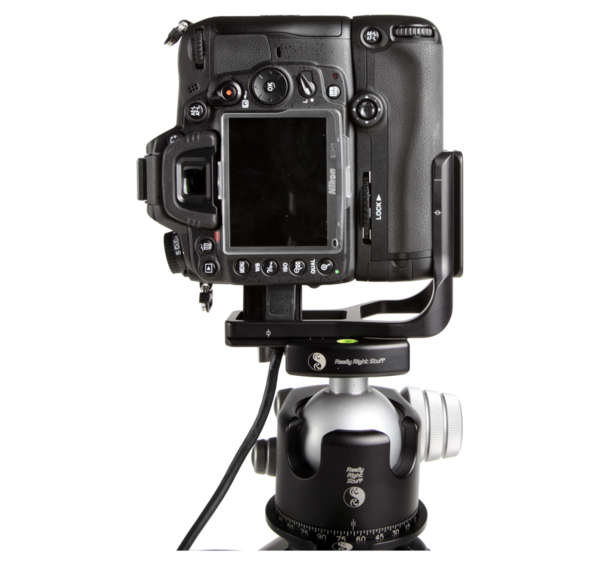 L-plate for MB-D11 grip seen on camera attached to ballhead