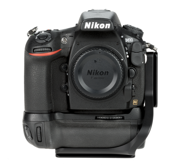 BMBD12-L810 aluminum L plate attached to nikon camera with battery grip