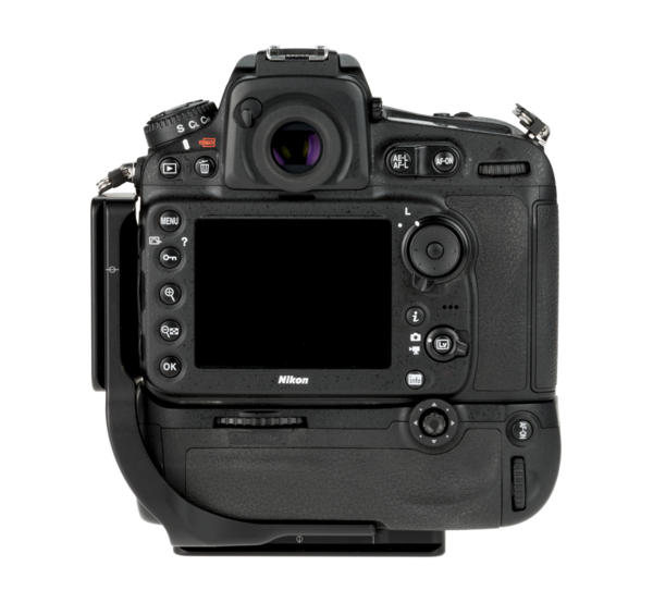 L-Plate for MB-D12 grip on the Nikon D810 - back view