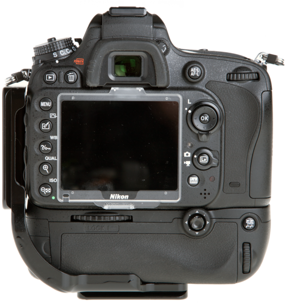 L-Plate for Nikon MB-D14 Grip seen on camera back view