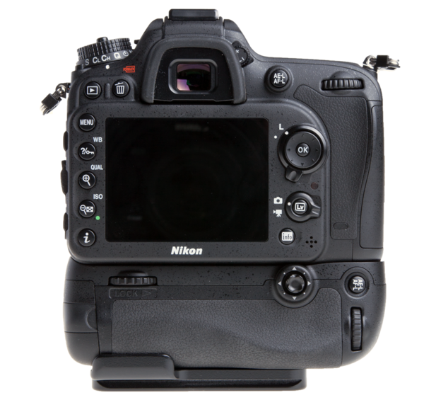 Plate for Nikon MB-D15 battery grip seen on camera back view