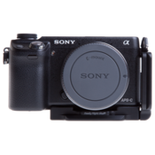 L-plate for Sony Alpha NEX-6 and NEX-7 seen on camera front view