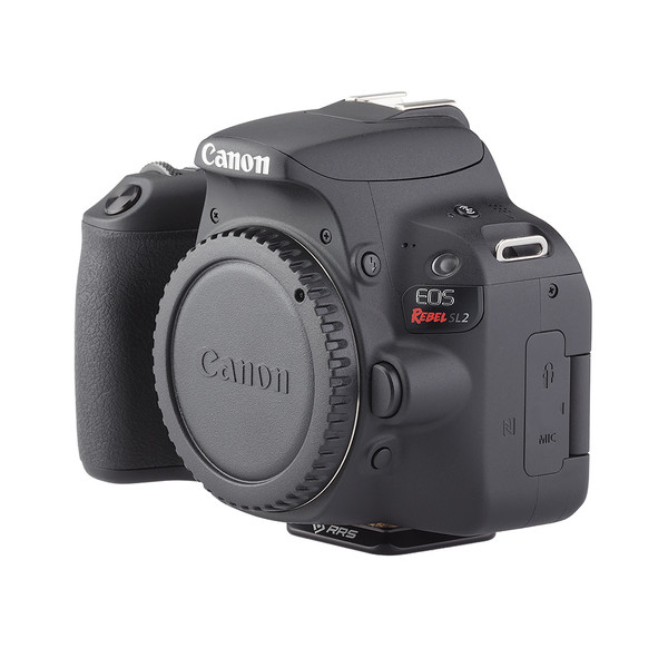 BPnS Camera Body Plate for Canon EOS Rebel SL2/EOS 200D seen on camera side view