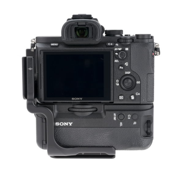 BVGC2EM aluminum L plate attached to sony camera back view