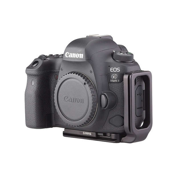 Plates for Canon EOS-6D Mark II including base plate, L-Component, no battery grip seen on camera, side view
