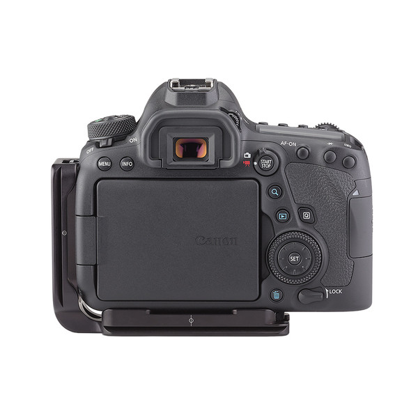 Plates for Canon EOS-6D Mark II including base plate, L-Component, no battery grip seen on camera, back view