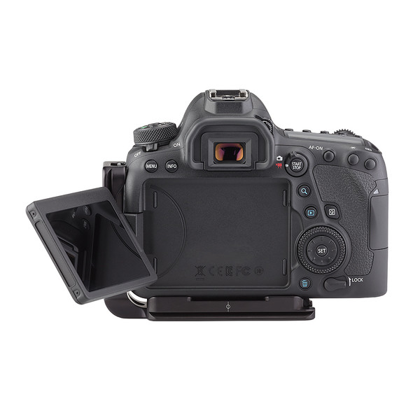 Plates for Canon EOS-6D Mark II including base plate, L-Component, no battery grip seen on camera, back view with open screen