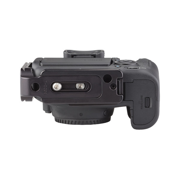 Plates for Canon EOS-6D Mark II including base plate, L-Component, no battery grip seen on camera, bottom view