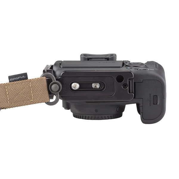 Plates for Canon EOS-6D Mark II including base plate, L-Component, no battery grip seen on camera, QD strap bottom view