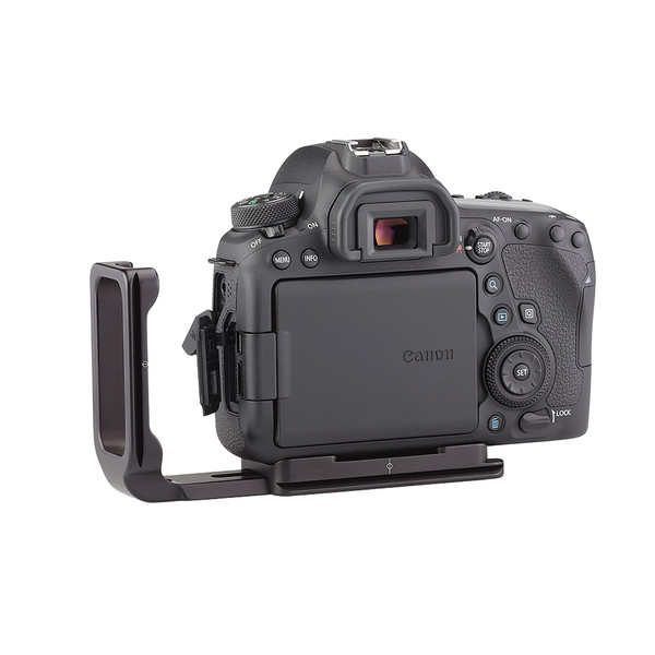Plates for Canon EOS-6D Mark II including base plate, L-Component, no battery grip seen on camera, extended L-Component back view