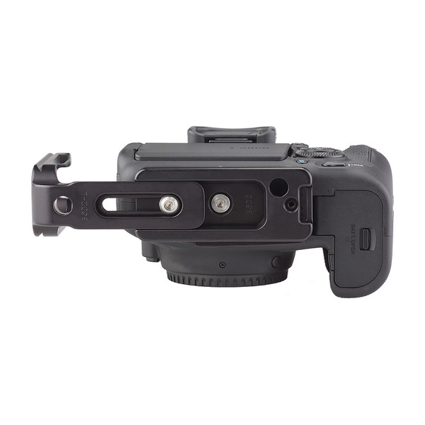 Plates for Canon EOS-6D Mark II including base plate, L-Component, no battery grip seen on camera, extended L-Component bottom view