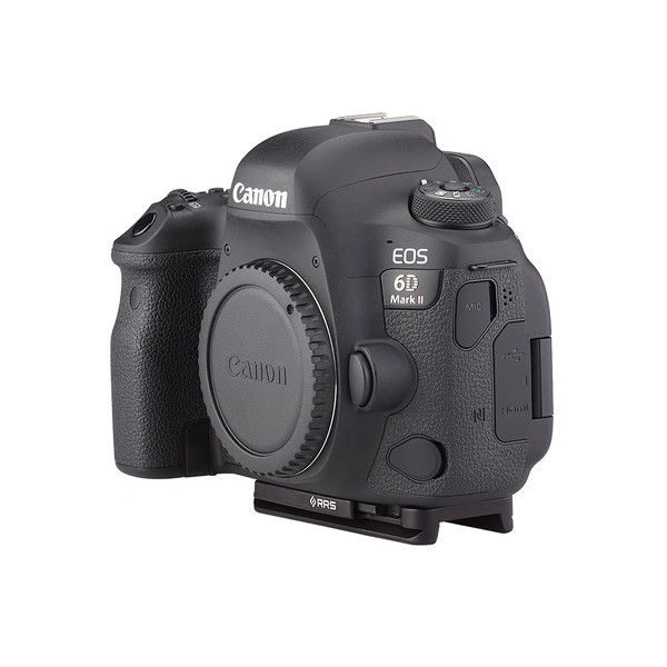 Plates for Canon EOS-6D Mark II including base plate, no L-Component, no battery grip, viewed on camera, side view