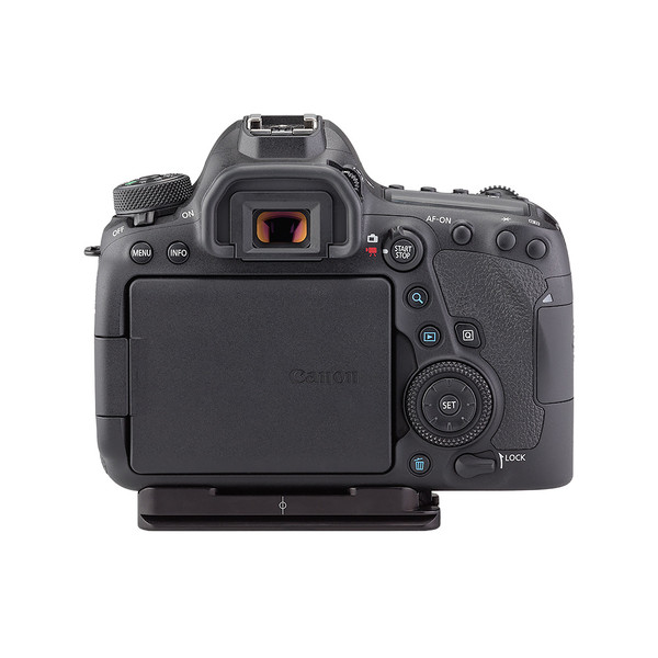 Plates for Canon EOS-6D Mark II including base plate, no L-Component, no battery grip, viewed on camera, back view