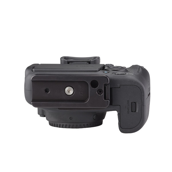 Plates for Canon EOS-6D Mark II including base plate, no L-Component, no battery grip, viewed on camera, bottom view