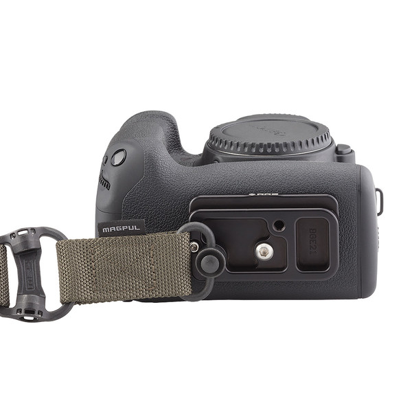 A strap can easily attach to the battery grip base plate