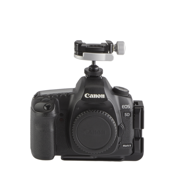 Camera with hot shoe adapter and ball head on top