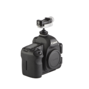 Camera with hot shoe adapter and ball head on top side view