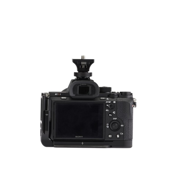 Camera with hot shop adapter and SNAP QR Adapter attached - back view