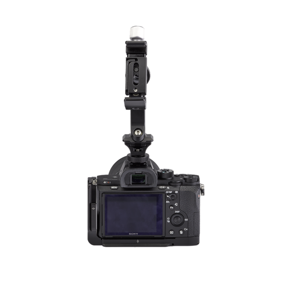 Camera with hot shoe adapter, SNAP QR Adapter and phone clamp attached