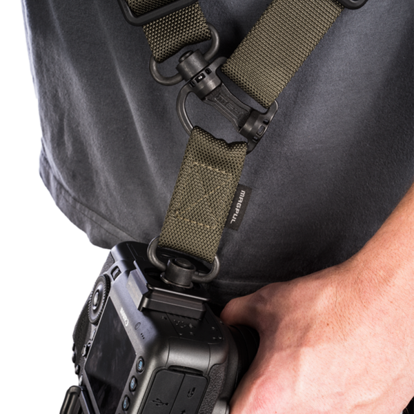 Magpul Gen 2 MS4 Dual QD Sling ranger green close up view on model