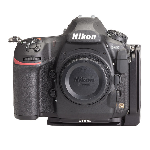 Nikon D850 Modular L Plate without battery grip seen on camera front view