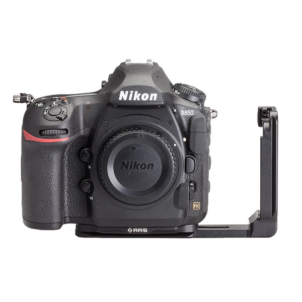 Nikon D850 Modular L Plate without battery grip seen on camera front view with L Plate extended