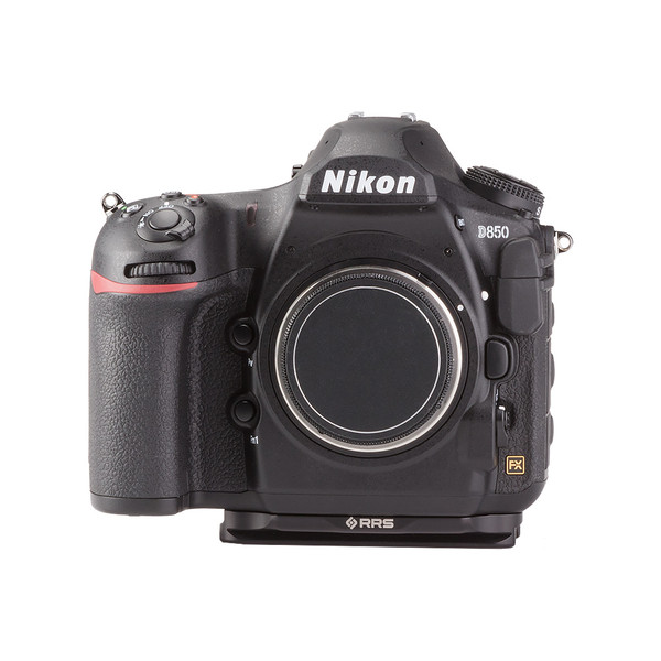 Nikon D850 camera with base plate.