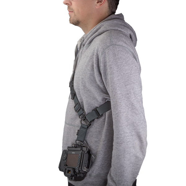 Strap-Clamp Package is worn over the shoulder and can be adjusted to preferred length.