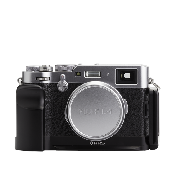 Base plate, L-component and battery grip on Fujifilm X100F - front view