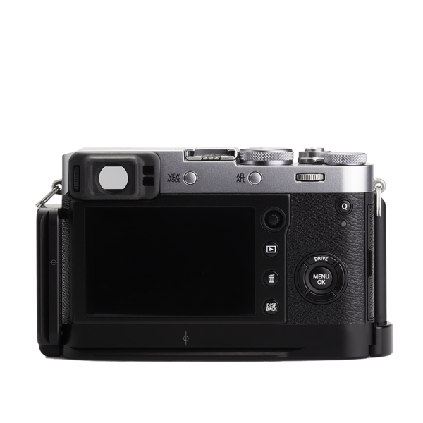 Base plate, L-component and battery grip on Fujifilm X100F - back view