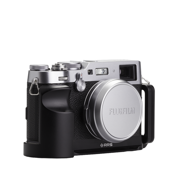 Base plate, L-component and battery grip on Fujifilm X100F - diagonal view