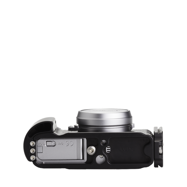 Base plate, L-component and battery grip on Fujifilm X100F - bottom view