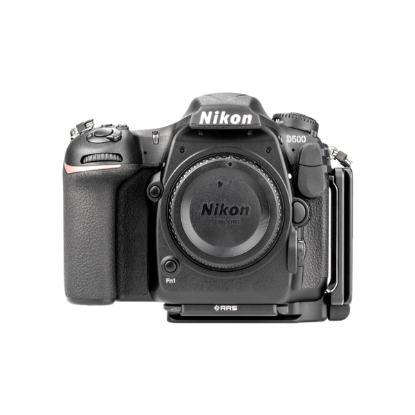 L-Plate set for Nikon D500 seen on camera front view