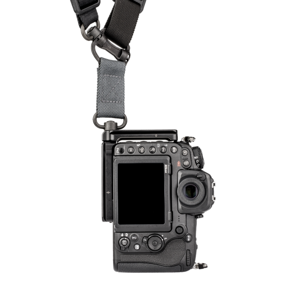 L-Plate set for Nikon D500 attached to camera and QD strap